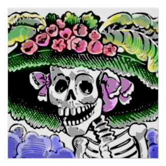 Skeleton with funny hat with flower poster