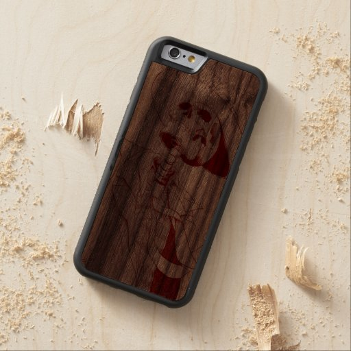 skeleton with hat and tie carved® walnut iPhone 6 bumper