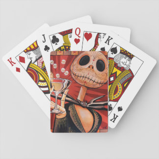 skeleton with martini design on playing cards