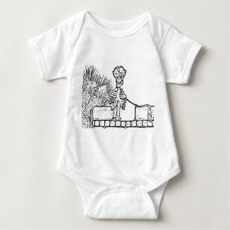skeleton with pirate hat over wall bw baby bodysuit