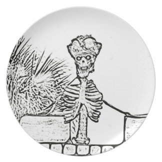 skeleton with pirate hat over wall bw melamine plate