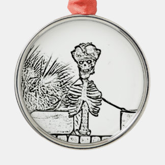 skeleton with pirate hat over wall bw metal ornament