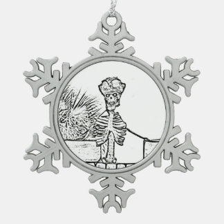skeleton with pirate hat over wall bw snowflake pewter christmas ornament