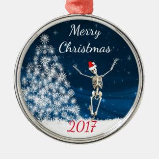 "Skeleton with Santa Hat ""Christmas 20xx"" Metal Ornament"