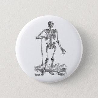 Skeleton with Shovel Pinback Button