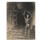 Skeleton with Violin Dares You to Come Out & Play Postcard