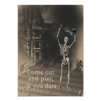 Skeleton with Violin Dares You to Come Out & Play Print