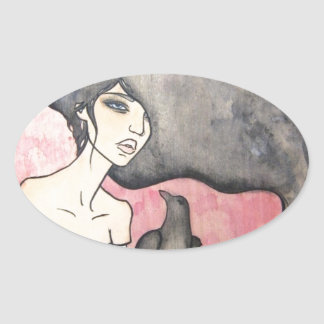 Skeleton Woman with Raven Oval Sticker