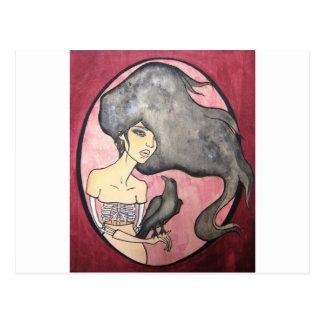 Skeleton Woman with Raven Postcard