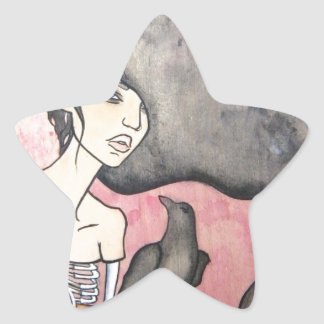 Skeleton Woman with Raven Star Sticker