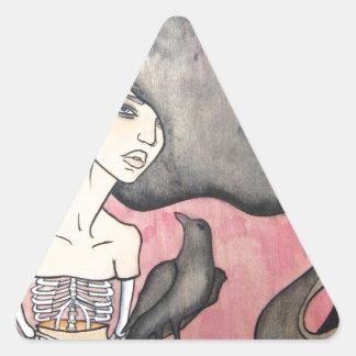 Skeleton Woman with Raven Triangle Sticker