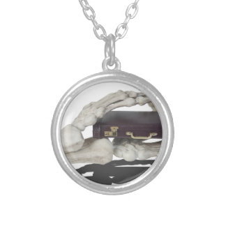 SkeletonHandsBriefcase081614 copy Round Pendant Necklace