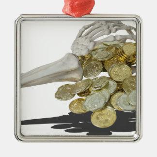 SkeletonHandsGoldCoins081614 copy Metal Ornament