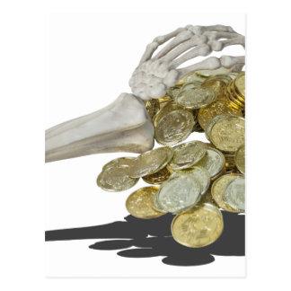 SkeletonHandsGoldCoins081614 copy Postcard