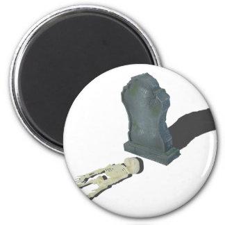 SkeletonLayingFrontHeadstone070315 2 Inch Round Magnet