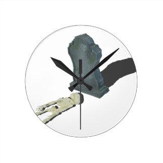 SkeletonLayingFrontHeadstone070315 Round Clock