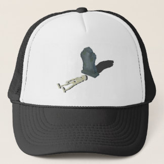 SkeletonLayingFrontHeadstone070315 Trucker Hat