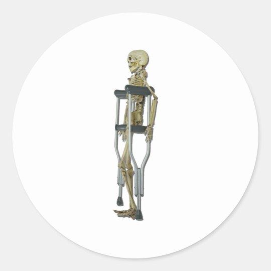 SkeletonOnCrutches100711 Classic Round Sticker