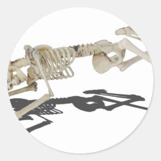 SkeletonProneSideways032215 Classic Round Sticker