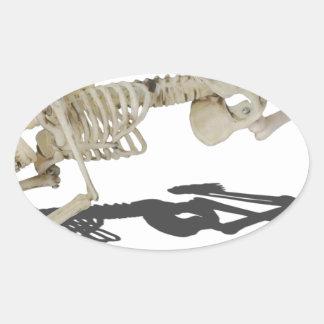 SkeletonProneSideways032215 Oval Sticker