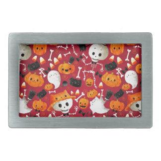 Skeletons and Pumpkins Pattern Belt Buckle