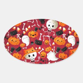 Skeletons and Pumpkins Pattern Oval Sticker