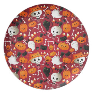 Skeletons and Pumpkins Pattern Party Plate