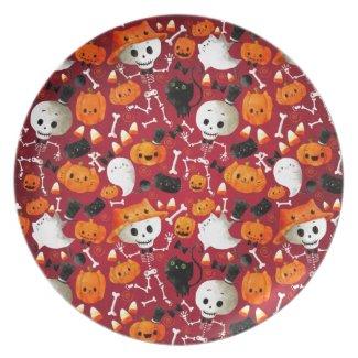 Skeletons and Pumpkins Pattern Plates
