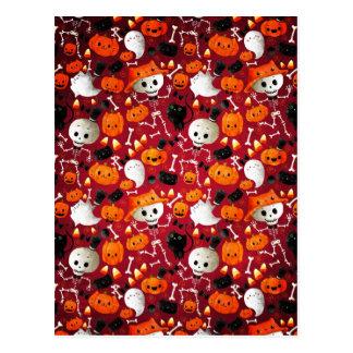Skeletons and Pumpkins Pattern Postcard