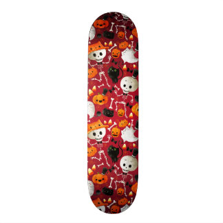 Skeletons and Pumpkins Pattern Skateboard Deck
