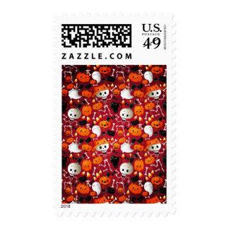 Skeletons and Pumpkins Pattern Stamp