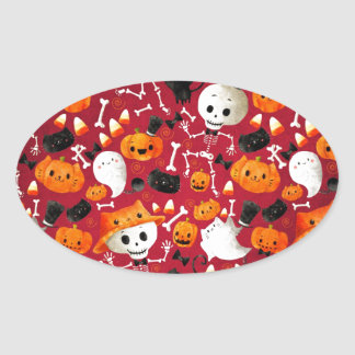Skeletons and Pumpkins Pattern Sticker