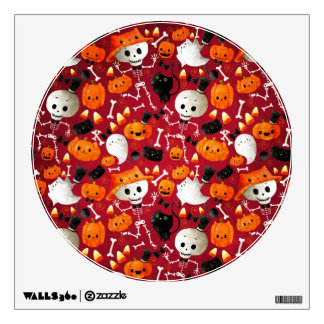 Skeletons and Pumpkins Pattern Wall Sticker