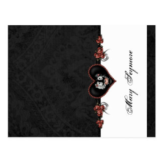 Skeletons Black ADD NAME GLOSS Folding Place Card