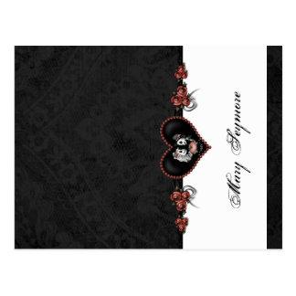 Skeletons Black ADD NAME GLOSS Folding Place Card