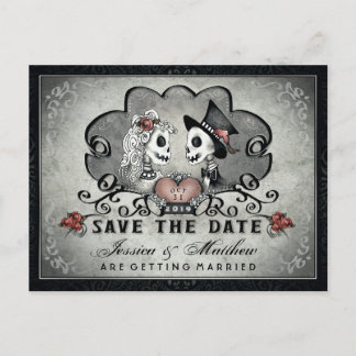 Skeletons Black Gray White SAVE THE DATE Announcement Postcard