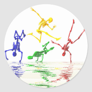 Skeletons breakdancing classic round sticker