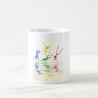 Skeletons breakdancing coffee mug