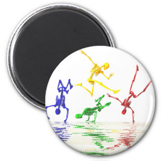 Skeletons breakdancing magnet