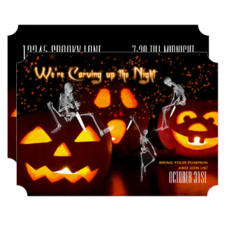 Skeletons Carving Up the Night | Halloween Party Card