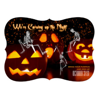 Skeletons Carving Up the Night   Halloween Party Custom Announcements