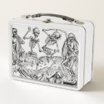 "Skeletons Danse Macabre Lunch Box<br><div class=""desc"">This lunch box will have you dancing to your grave just like these playful plague skeletons.  These lunch boxes are not only great for bringing your lunch in gothic morbid style,  can also be used for a purse or storage.</div>"