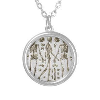 Skeletons from the Brockhaus & Efron Encyclopedia Silver Plated Necklace
