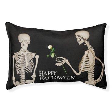 Halloween Themed Skeletons Funny Romantic Happy Halloween Pet Bed