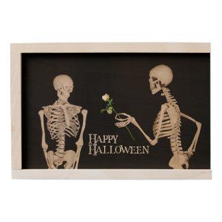 Skeletons Funny Romantic Happy Halloween Wooden Keepsake Box