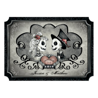 """Skeletons Gray Black Heart Wedding """"Together With"""" Invitation"""