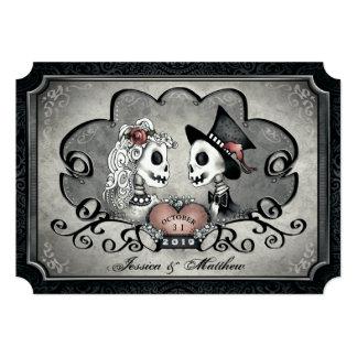 Skeletons Gray Black White Heart Wedding Card