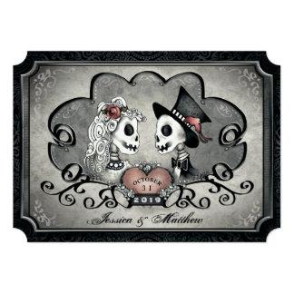 Skeletons Gray Black White Heart Wedding Invitation