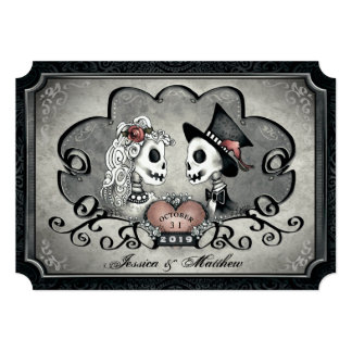 Skeletons Gray Black White Heart Wedding Invitation