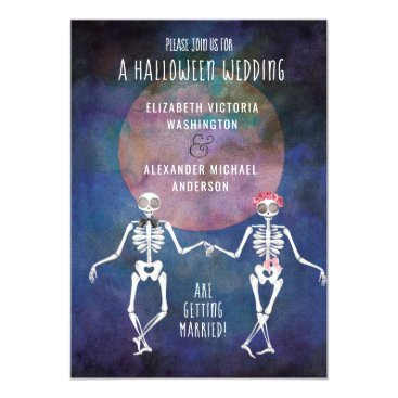 Wedding Themed Skeletons/Halloween Theme/ Wedding Invitation